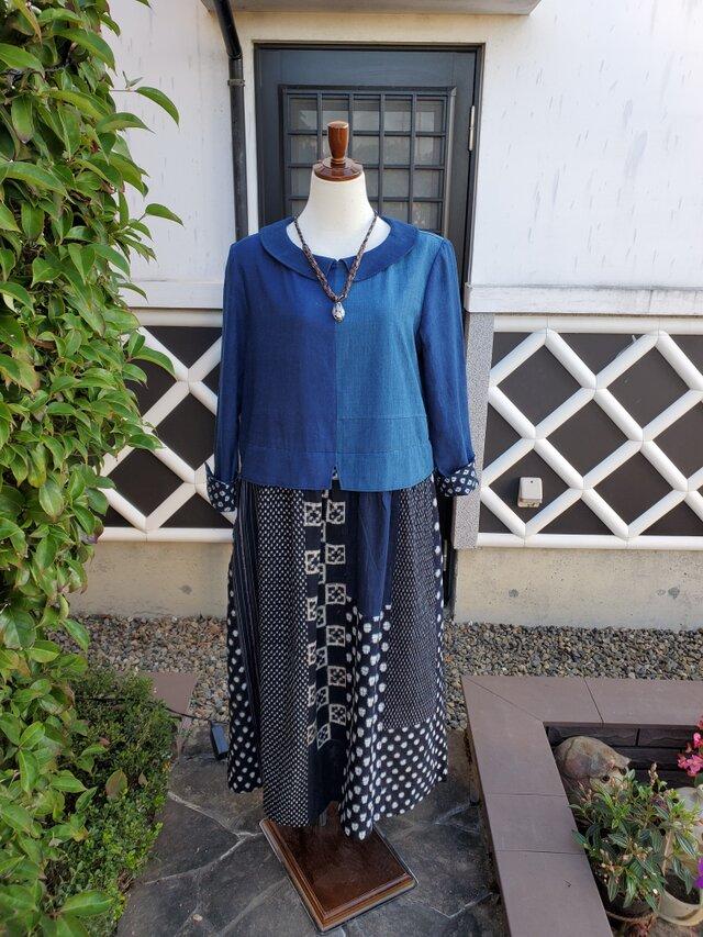 着物リメイク 手作り 藍の濃淡、 雪ん子など パッチ ワンピースの画像1枚目