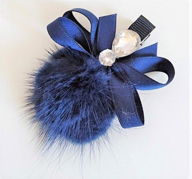 ¶ new antique fur ¶ ブルーミンク&ファンシーストーン付リボンヘアクリップの画像1枚目