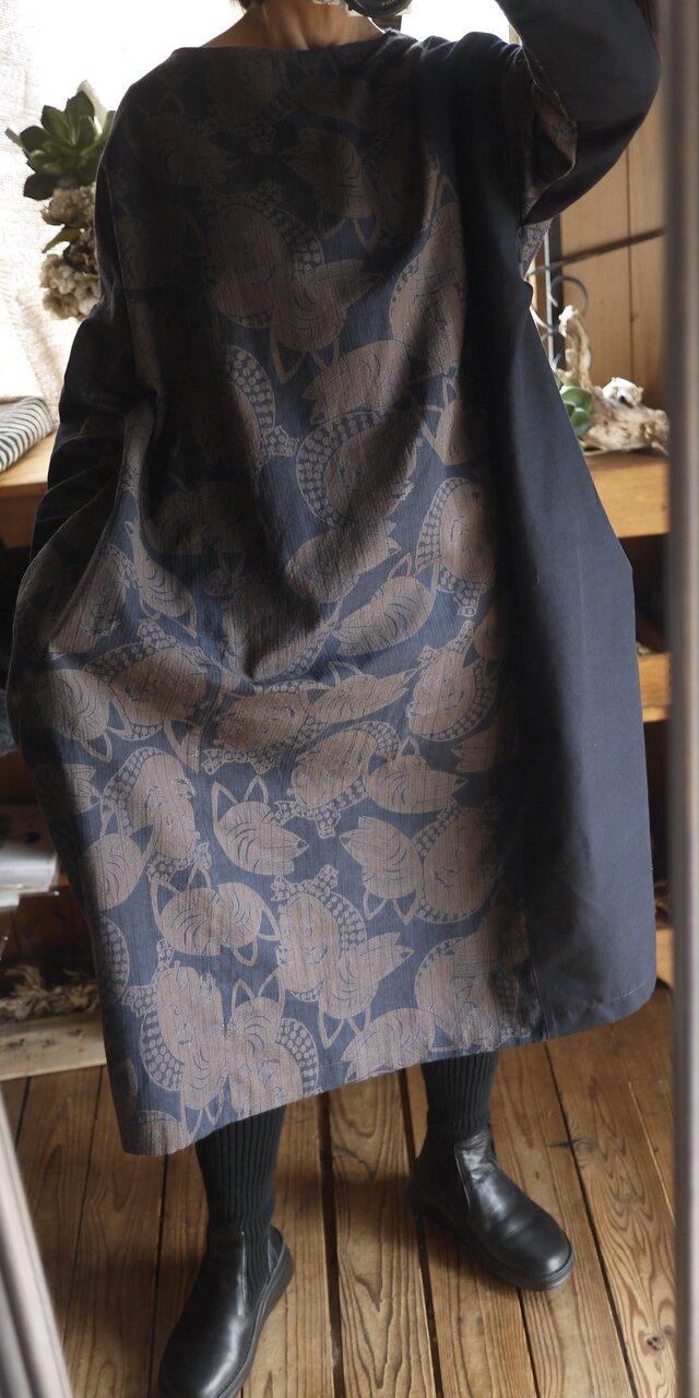 綿麻と久留米絣のコクーンワンピースの画像1枚目