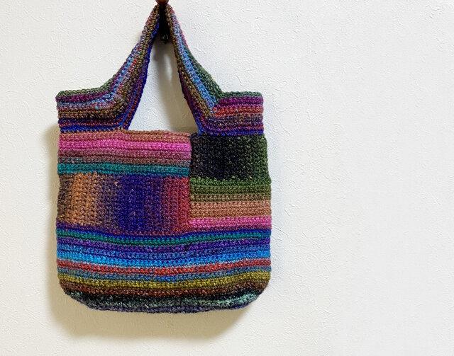 多色毛糸使いの手編みかばんの画像1枚目