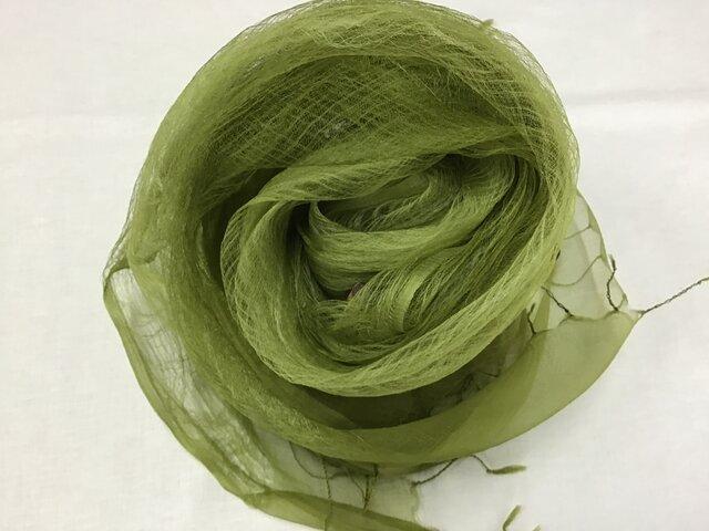 草木染め シルクストール コブナグサ グリーンの画像1枚目