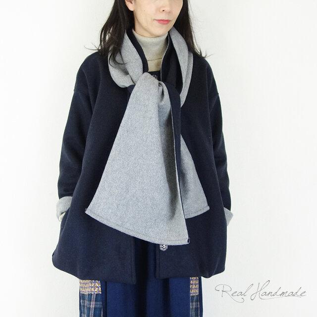 リバーネイビーウールドロップ羽織りコート☆マフラー付きの画像1枚目