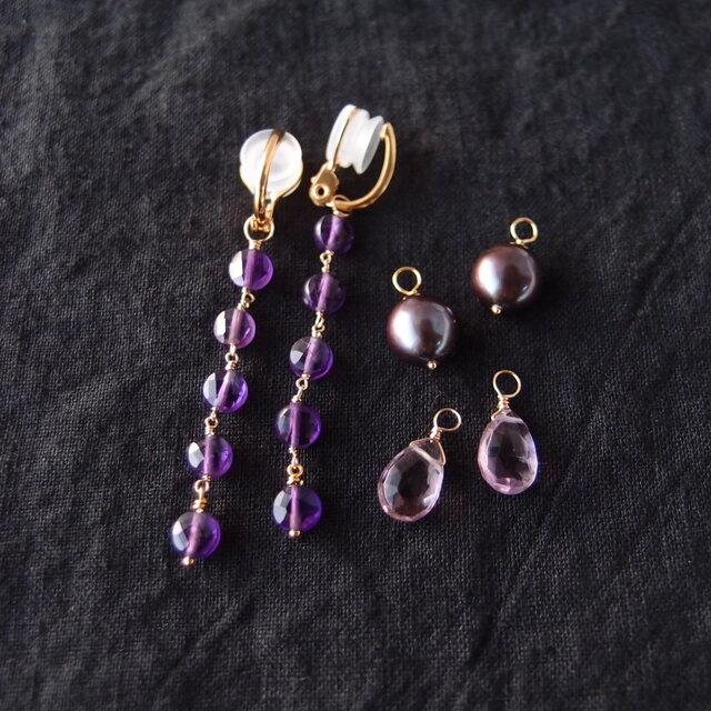 【K14gf/silver】フープイヤリング 3チャームセット/purpleの画像1枚目