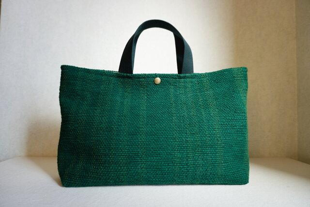 裂き織りのバッグL横長  緑の画像1枚目