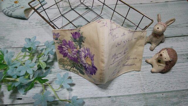 ✴送料無料✴紫のお花がとても素敵な大人可愛いいマスクです✴の画像1枚目