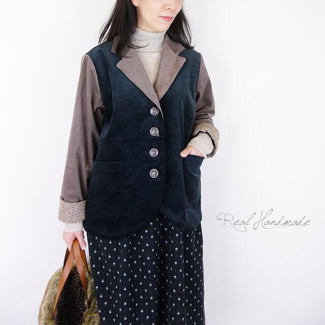 ベルベットブラックとモカテーラー裾ラウンドジャケットの画像1枚目