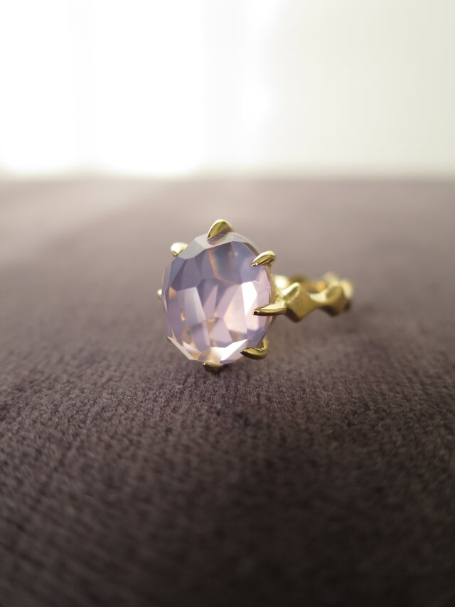 K18 Lavender Quartz Random hidome cut Ring の画像1枚目
