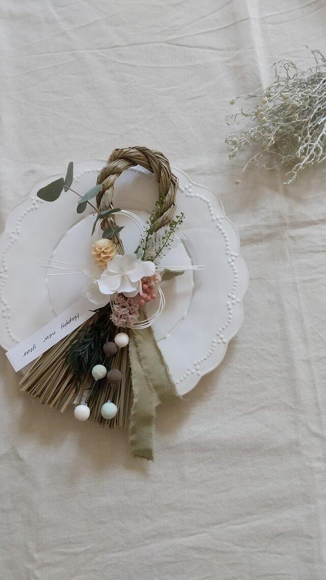 [再販]くすみcolorのしめ縄wreath (プリザーブドフラワードライフラワーグリーン アンティーク ギフト)の画像1枚目