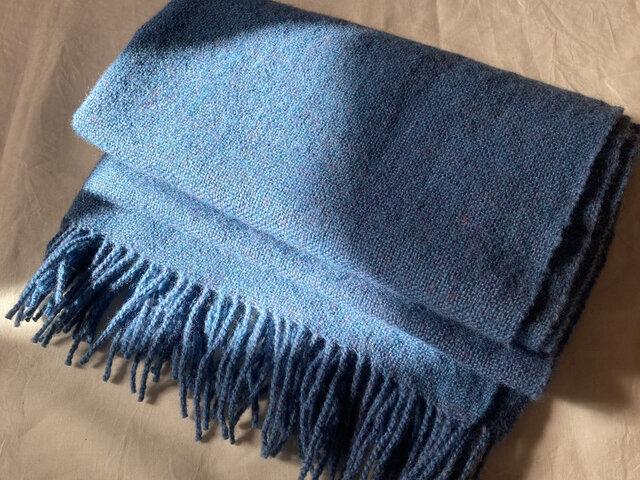 【参考作品】月明かりの夜 青いショール 手紡ぎ手織り 天然素材 着物のショールにもの画像1枚目