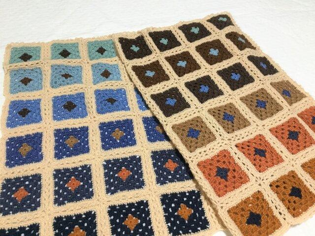 グラニー編みの膝掛け・ブルー×ブラウンの画像1枚目