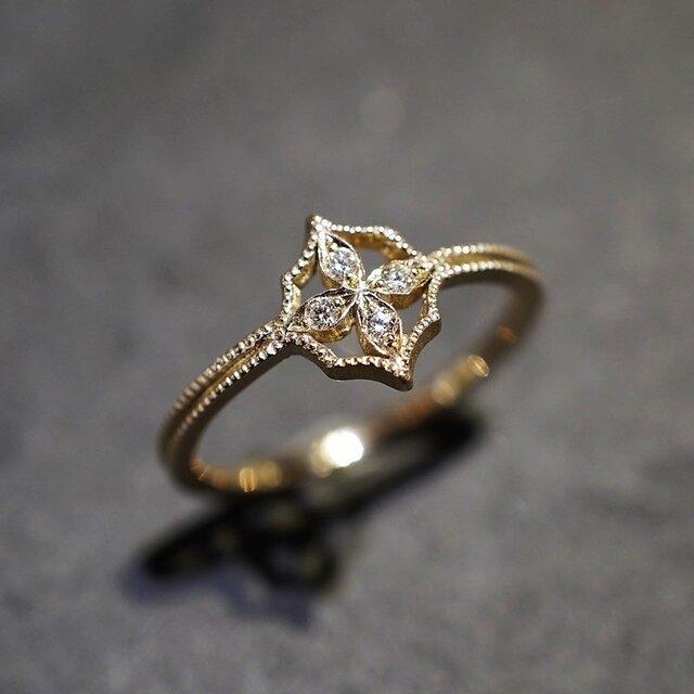 4 petal flower ring Ⅰ{R069K18YG}の画像1枚目