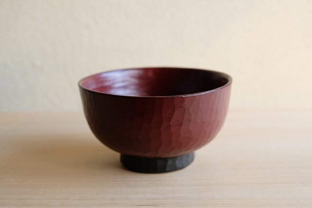 再販: ねむの木・手削り汁椀 赤 注文制作の画像1枚目