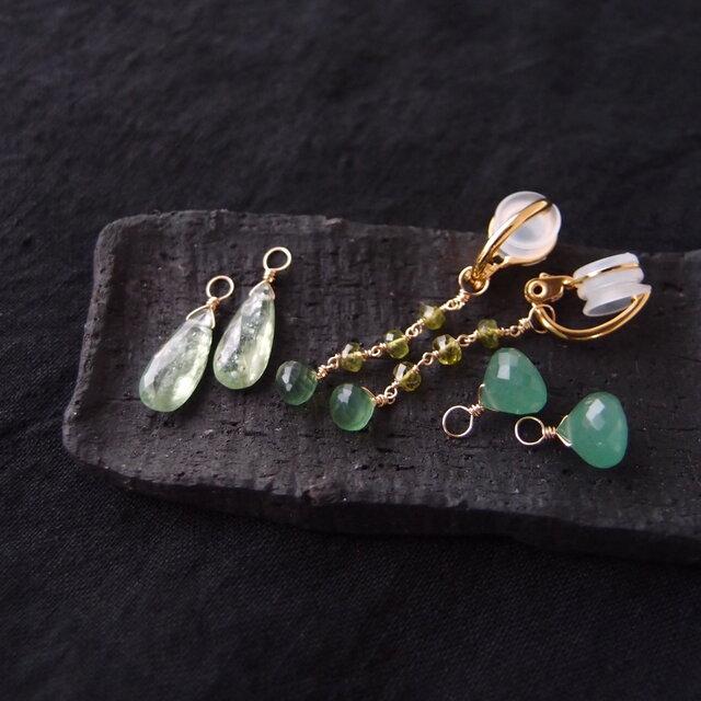 【K14gf/silver】フープイヤリング 3チャームセット/green Aの画像1枚目