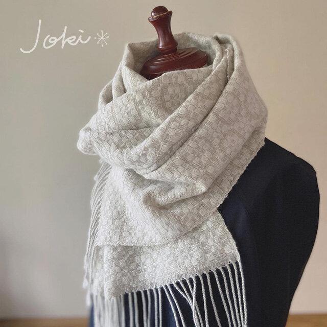 cashmerm[手織りカシミヤショール] ホワイトの画像1枚目
