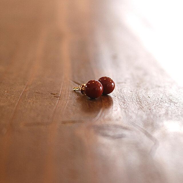漆塗丸玉十金耳飾「首里赤」桜花弁柄 rpc-127の画像1枚目