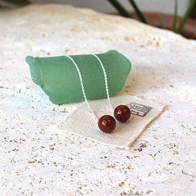 漆塗丸玉米国式耳飾「首里赤」桜花弁柄 rpc-128の画像1枚目