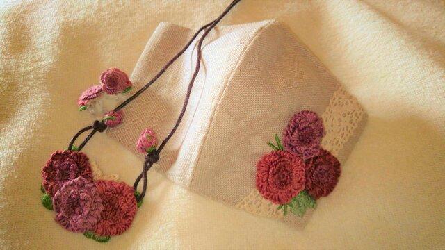 【送料無料】総手縫いの刺繍お出掛けセット(レッドローズ/1点物)の画像1枚目