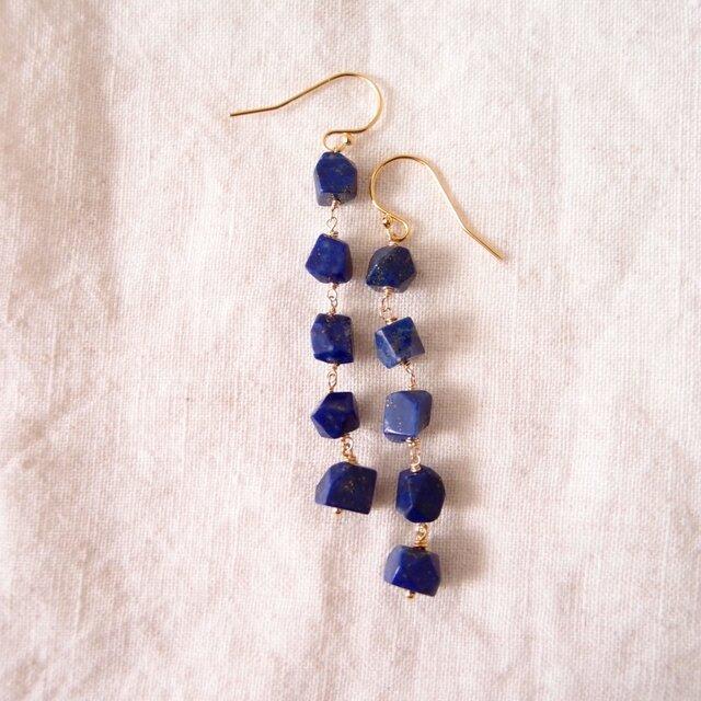 送料無料【K14gf】ラピスラズリのロングピアス/lapis lazuliの画像1枚目