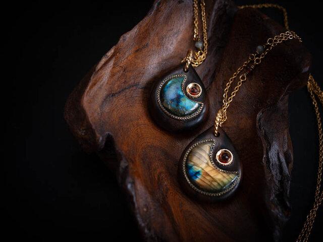 【ネックレス】月の海 星の終わり/ラブラドライト×ジリコテの画像1枚目