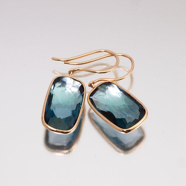 Frame earrings / London blue topazの画像1枚目