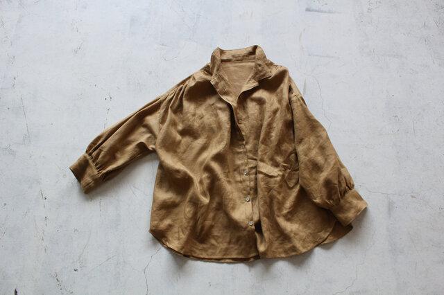 【NEW】後ギャザーのゆったりシャツ*フレンチリネンの画像1枚目
