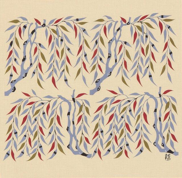 風呂敷 ふろしき ハンカチーフ 芹沢銈介 柳文 黄色 綿100% 42cm×42cmの画像1枚目