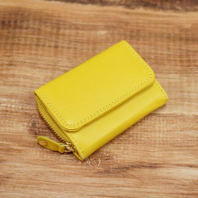 大人可愛い パステルカラー 手のひらサイズのミニ財布 【イエロー】の画像1枚目