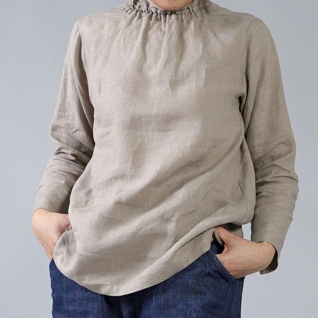 【Mサイズ】【wafu】雅亜麻 リネン タートル ネック インナー/榛色(はしばみいろ) p014a-hbm1-mの画像1枚目