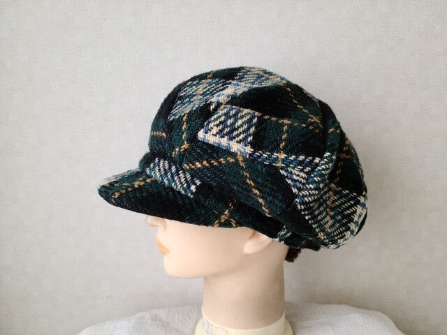 魅せる帽子☆ふんわり大きめ♪ウールチェックのキャスケット~グリーン系の画像1枚目