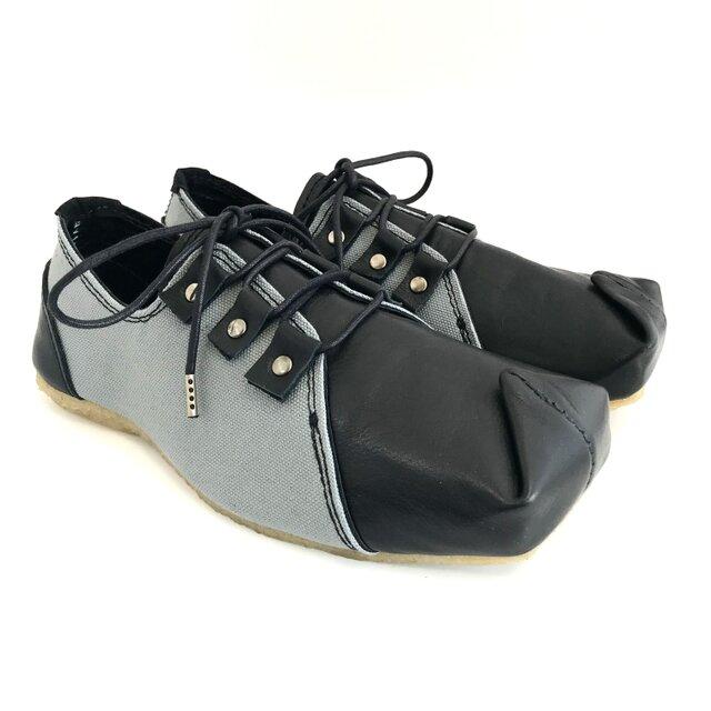 【受注製作】SQUARE sneakers (natural leather)の画像1枚目