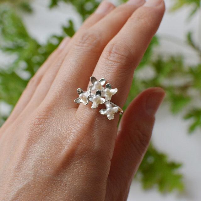 小花のリング:silver925の画像1枚目