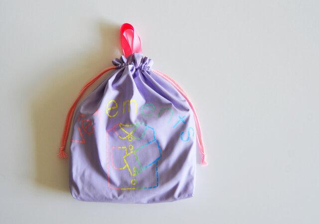 持ち手つき 体操着入れ お着替え巾着袋 新色 レインボーパープル 「vêtements」入園入学グッズ   の画像1枚目