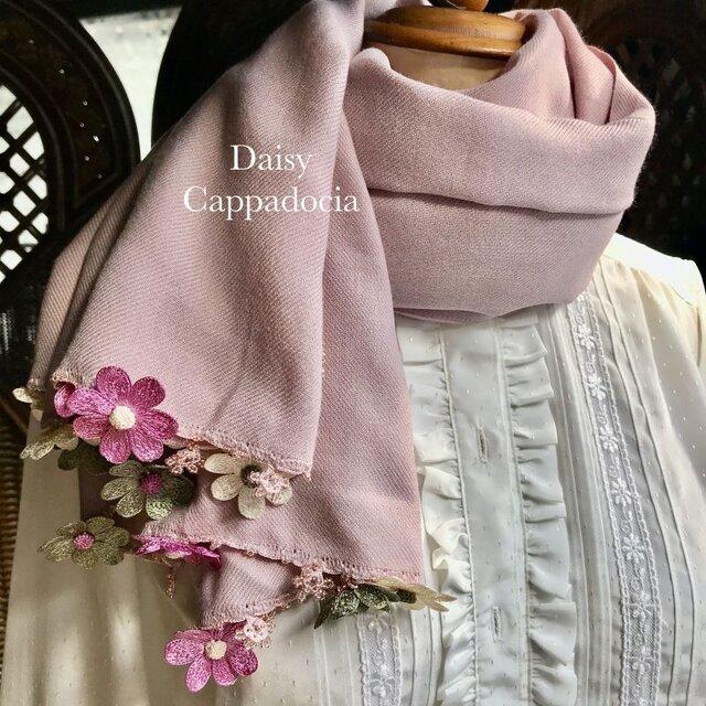 刺繍のお花つき パシュミナストール「デイジー」ピンク&グリーンの画像1枚目