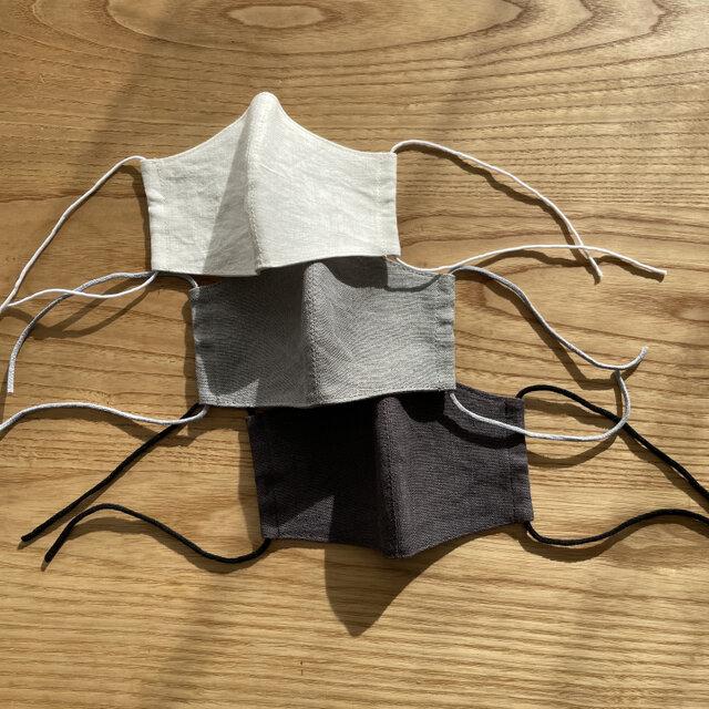 リネンマスクSサイズ3枚セット(白/グレー/チャコール)の画像1枚目