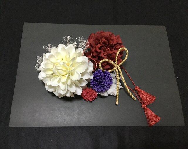 成人式/結婚式 ホワイトダリアとかすみ草の髪飾りの画像1枚目