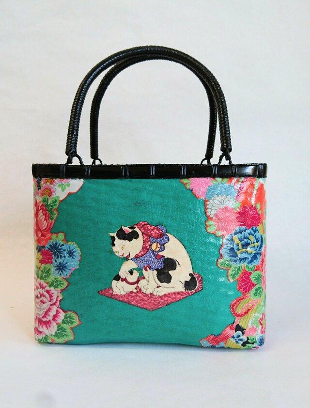 一閑張りバッグ中袋付き 『猫と花シリーズ』 浮世絵仕上げの画像1枚目