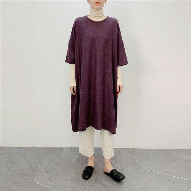 ★★en-en・ウール混紡・たっぷりAラインワンピース・深く濃い紫の画像1枚目