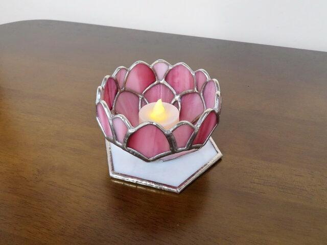 ピンクローズ・バラのミニテーブルランプ(ステンドグラスランプ)ガラス照明の画像1枚目