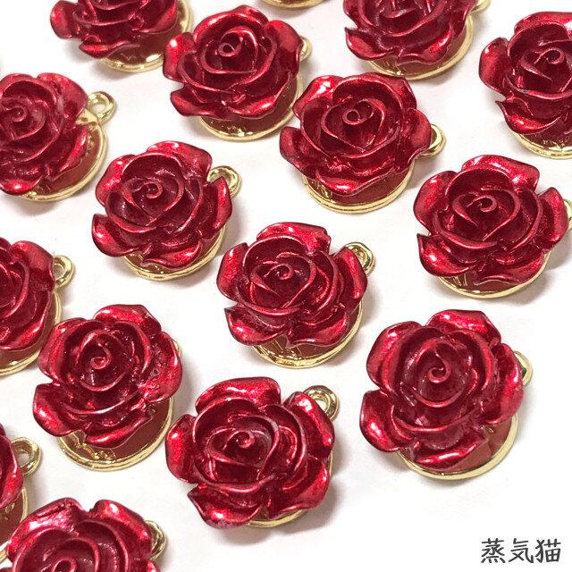 赤い薔薇チャーム 6個 バラの花パーツ ピアス ハンドメイド素材 Iichi ハンドメイド クラフト作品 手仕事品の通販