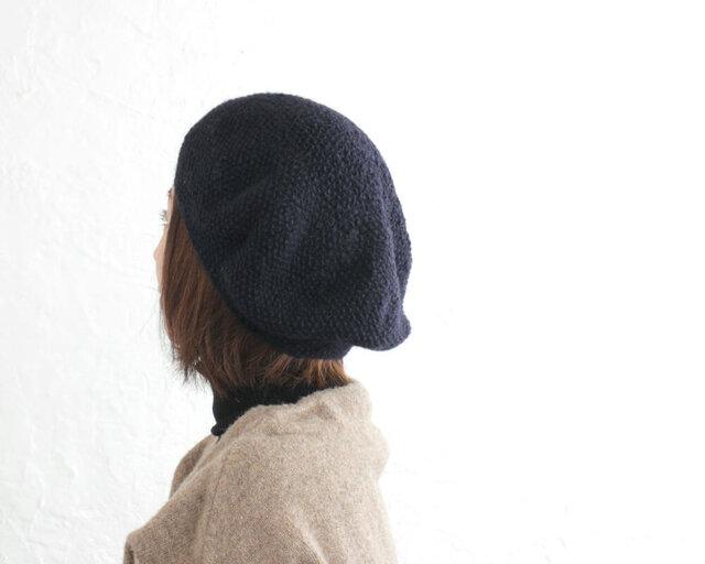 羊毛100% 鹿の子編みニットベレー帽 (ネイビー)の画像1枚目