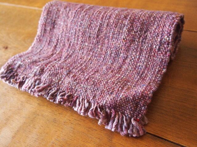手紡ぎのマフラー(ピンク・平織)の画像1枚目
