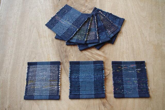 紺地&細縞・かわいいサイズの裂き織りコースター3枚セット 木綿・手織りの画像1枚目