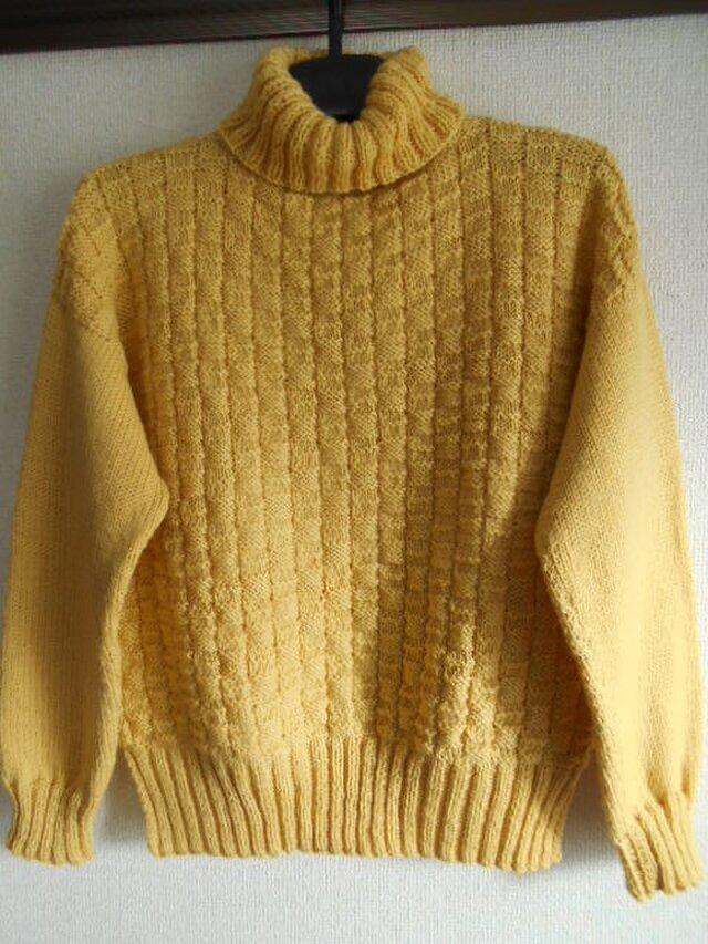 マスタードイエローの模様編みセーターの画像1枚目