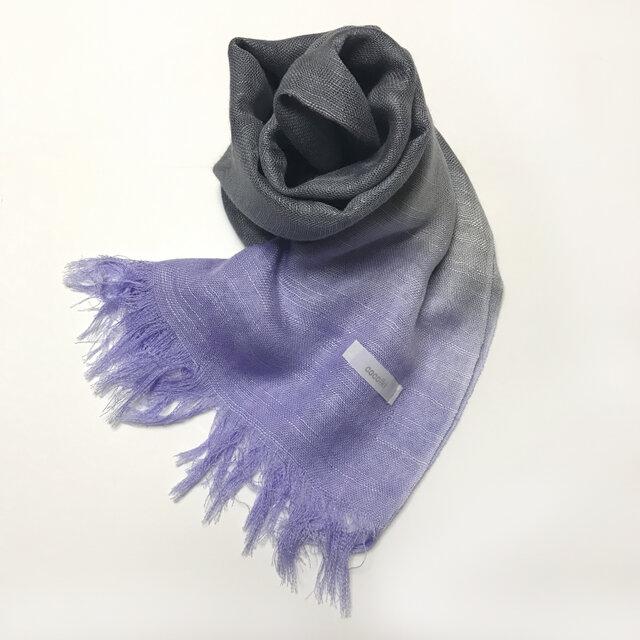 国産シルク100%手描き染めストール 青紫&薄墨色の画像1枚目