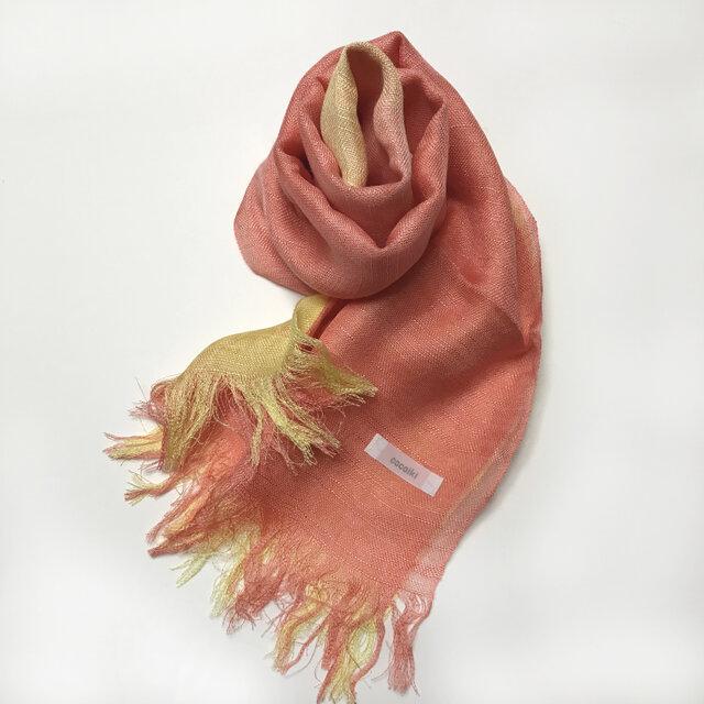 国産シルク100%手描き染めストール 甚三紅&菜の花色の画像1枚目