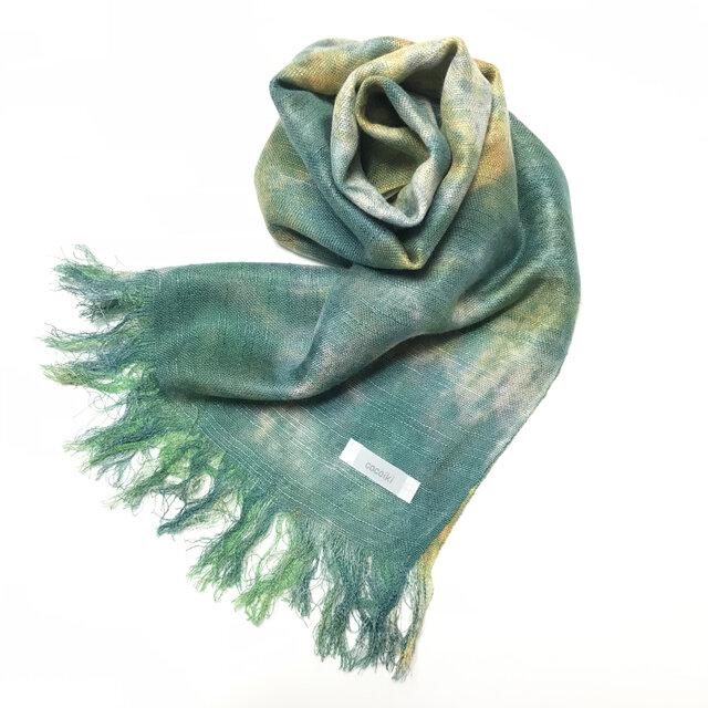 国産シルク100%手描き染めストール 緑青色&菜の花色の画像1枚目