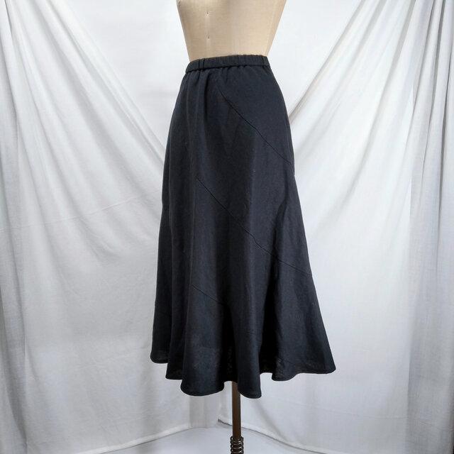 綿麻 エスカルゴのスカート(黒)の画像1枚目