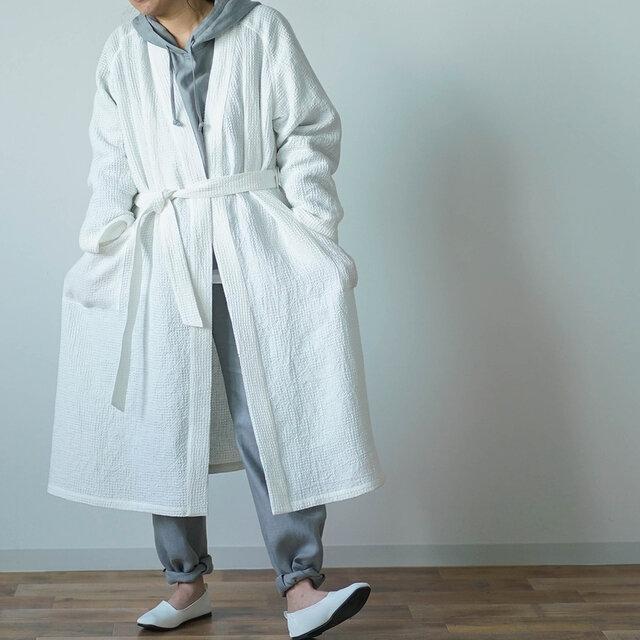 【Lサイズ】【wafu】ワッフル リネン ガウン linenローブ /ホワイト r012a-wht3-lの画像1枚目
