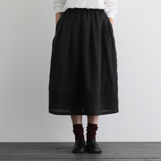風合い年中愛用リネンスカート ロングスカート タック入りスカート ブラック 201206-1の画像1枚目
