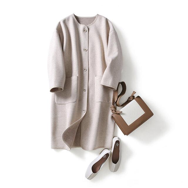 毎日着たい ノーカラー襟コート ウール  ボンディング生地 ロングコート201210-2の画像1枚目